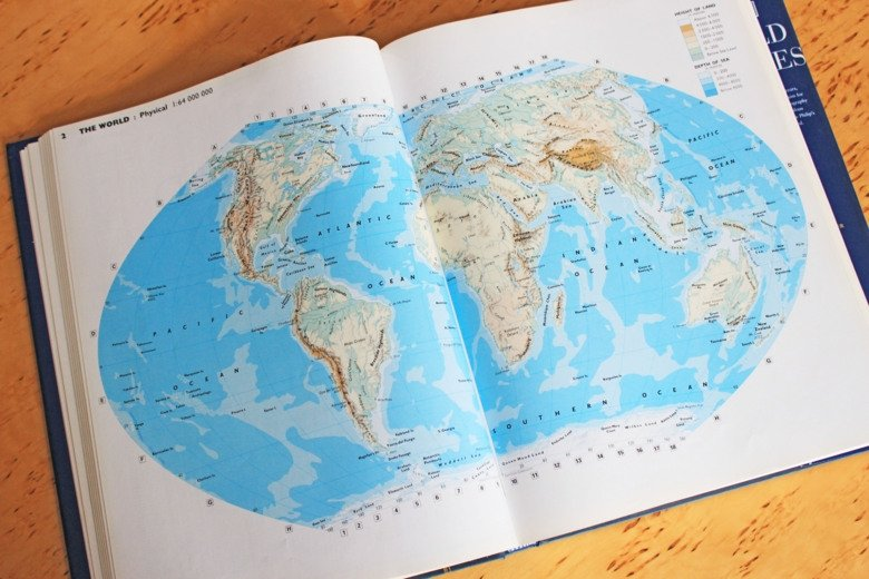 World map on table